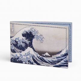 The Great Wave leather travel card holder