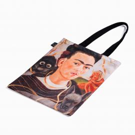 Frida with small monkey canvas tote
